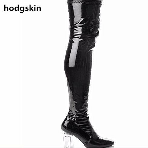 564cbd86a2e Dark Blue Patent Leather Clear Chunky Heels Women Boots Sexy Long Thigh  High Boots Pointy Toe Knight Boot Over The Knee Shoes Boots For Girls Fur  Boots From ...