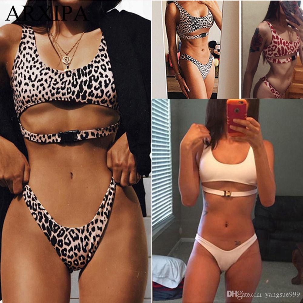 c83b47d108 2019 ARXIPA 2019 High Cut Sexy Bikini Sets Leopard Swimsuit Women Cut Out  Crop Top Swimwear Solid Thong Bathing Suit Padded Beachwear From  Yangsue999