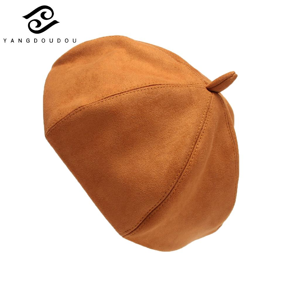 d5d45dce4a9d2 Yangdoudou Beret Female Winter Hats For Women Flat Cap Knit Hats ...