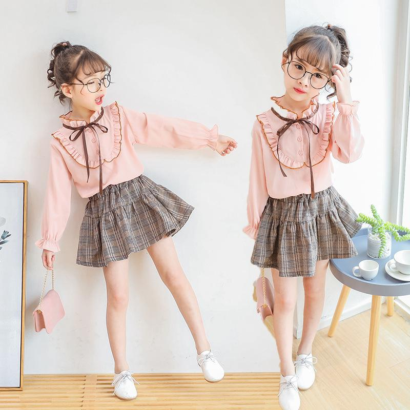Children's Clothing Baby Girls Clothing Autumn Explosion Models Girls Korean Short Skirt Suit Children's Art Skirt Two-piece