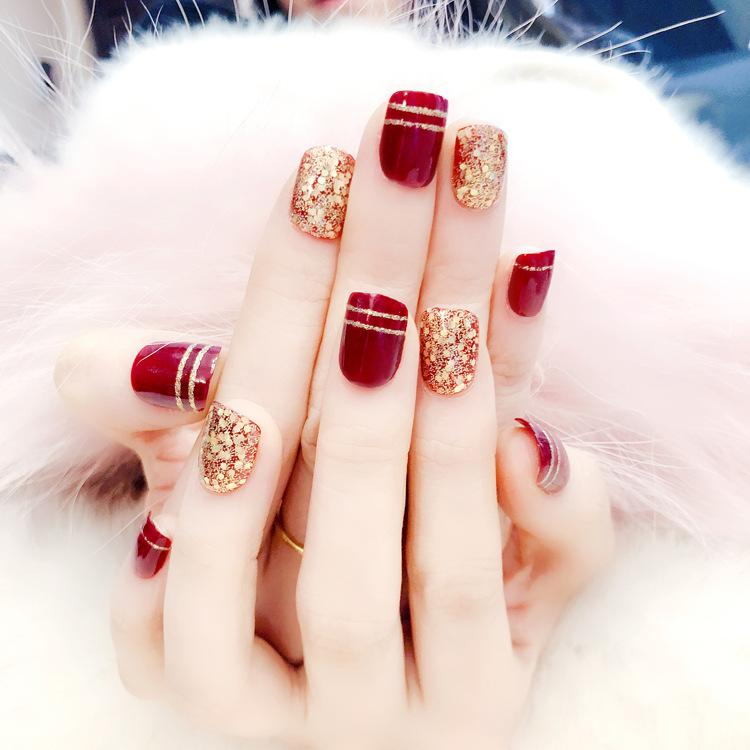 L58 Manicure Nails Finished Bride Fake Wine Red Golden Glitter Products Fashion Nail Patch Finger Art Tips Fashion24pcs/set Full Cover