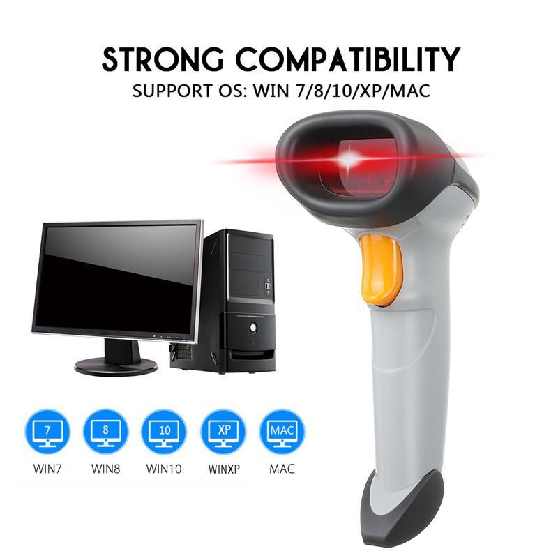Portable Barcode Scanner Wireless Bar Code Reader USB Laser Barcode Scanner  Wired For Win 7/8/10/XP/Mac DC5V Set