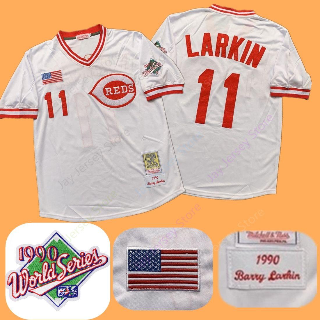 size 40 87633 9919d Barry Larkin Jersey 1990 Reds WS World Series Patch Cooperstown Cincinnati  Grey White Red Mesh BP Throwback Stitched Flexbase Men Size M-3XL
