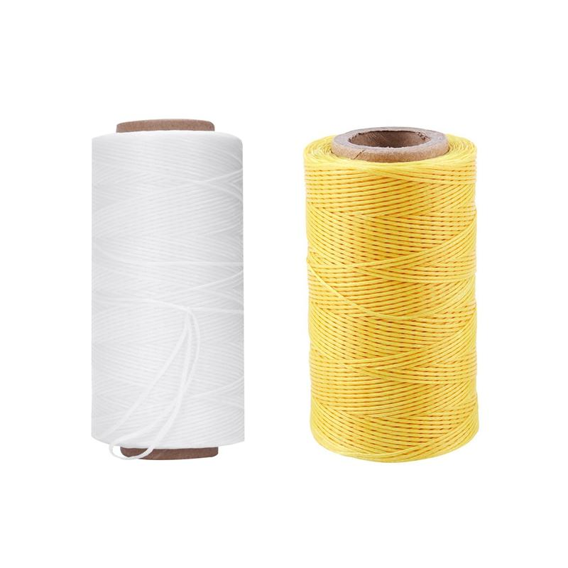 2pcs 260M 150D 1MM Leather Sewing Waxed Wax Thread Hand Needle Cord Craft DIY - White & Yellow