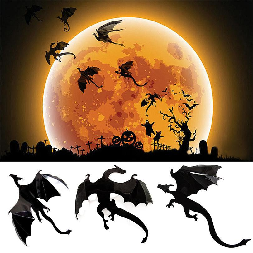 7Pcs/Lot Gothic Wallpaper Halloween Wall Stickers Game Power in Spired 3D Dragon Stickers Kid Room Home Decoration DropShipping