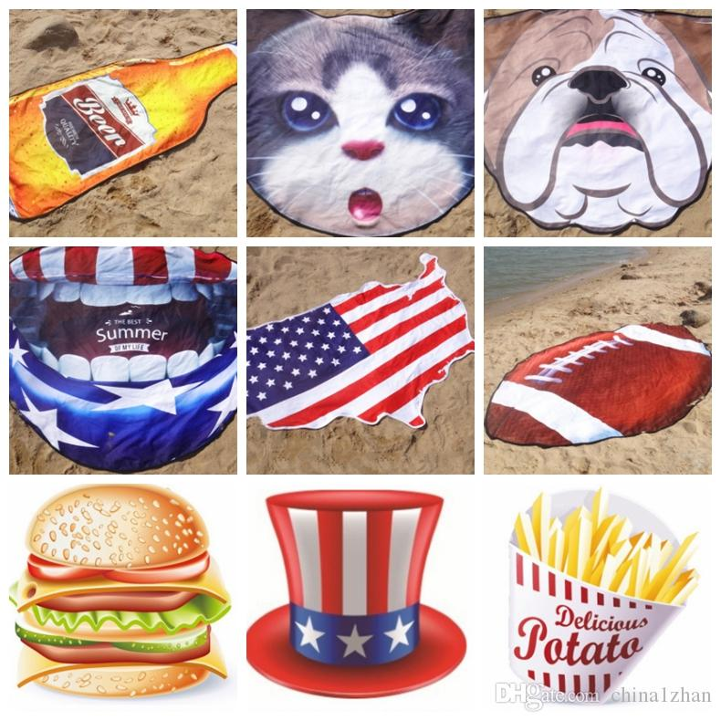 Irregular Beach Towel Microfiber US Flag Beach Mats Customized Beach Shawl Personalized Yoga Mat Beer Coffee Fruit Ice Cream Car DHW3496