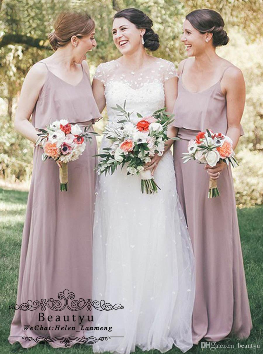 Dust Pink Chiffon Long Bridesmaid Dresses with Spaghetti Straps 2019 ... 2ef13955a43b