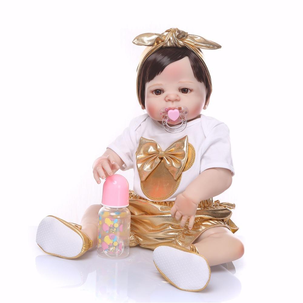 da2a6d0af1fec Acheter Bebe Reborn 2018 Nouveau Design Poupée D or Corps En Silicone  Réaliste Reborn Doll Poupée À La Main Bébé Jouet Vente Chaude De Noël Cadeaux  De ...