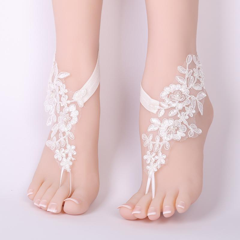 ae4be6cab02f 2019 White Lace Woman Bridal Anklets Wedding Barefoot Sandals Shoes Beach  Foot Chain Accessories In Stock From Afantijewelry