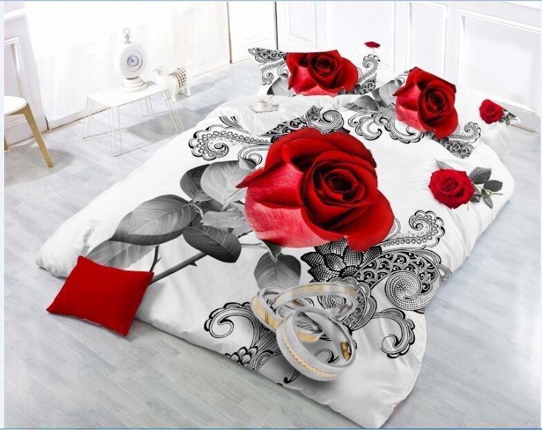 New Beautiful 3D Flower Rose Feast Pattern Bedding Set Bed sheets Duvet Cover Bed sheet Pillowcase 4pcs/set