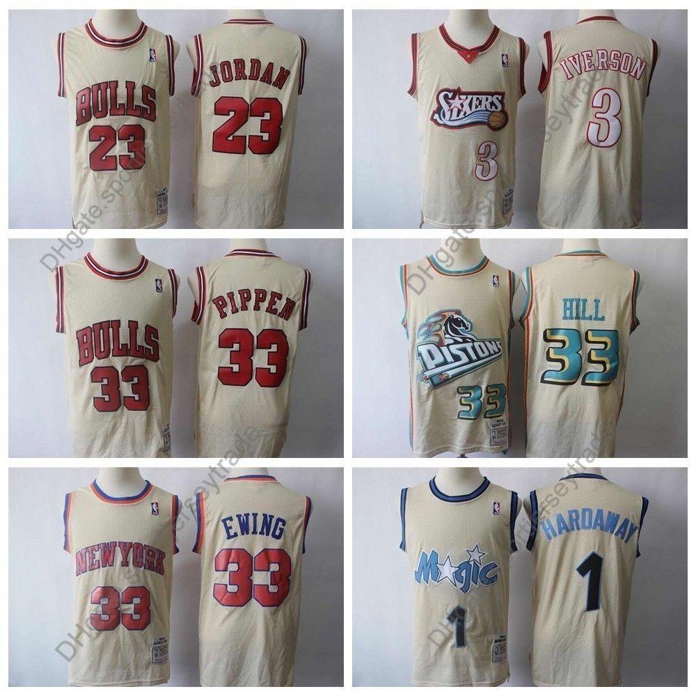 buy popular 0928d 5d0c1 Top Quality Mens 96 Classics Gold Basketball Jerseys Allen Iverson Scottie  Pippen 23 Michael Jodan Patrick Ewing Penny Hardaway Stitched