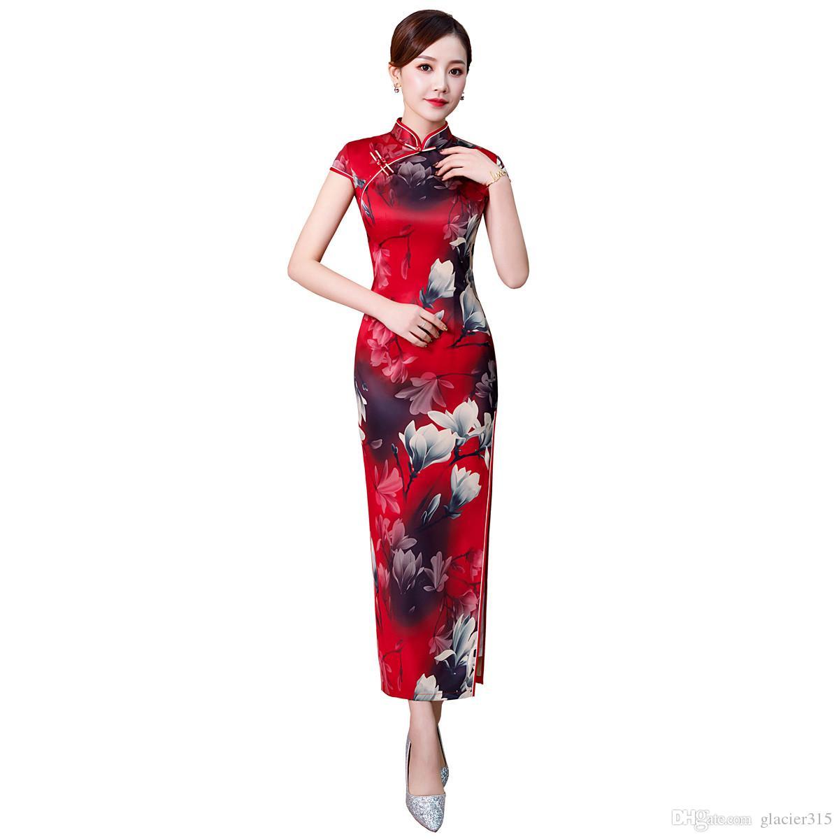 aac36a1e358 Shanghai Story Faux Silk Qipao Chinese Traditional dress Chinese Women s  Clothing Flower Print Cheongsam Long