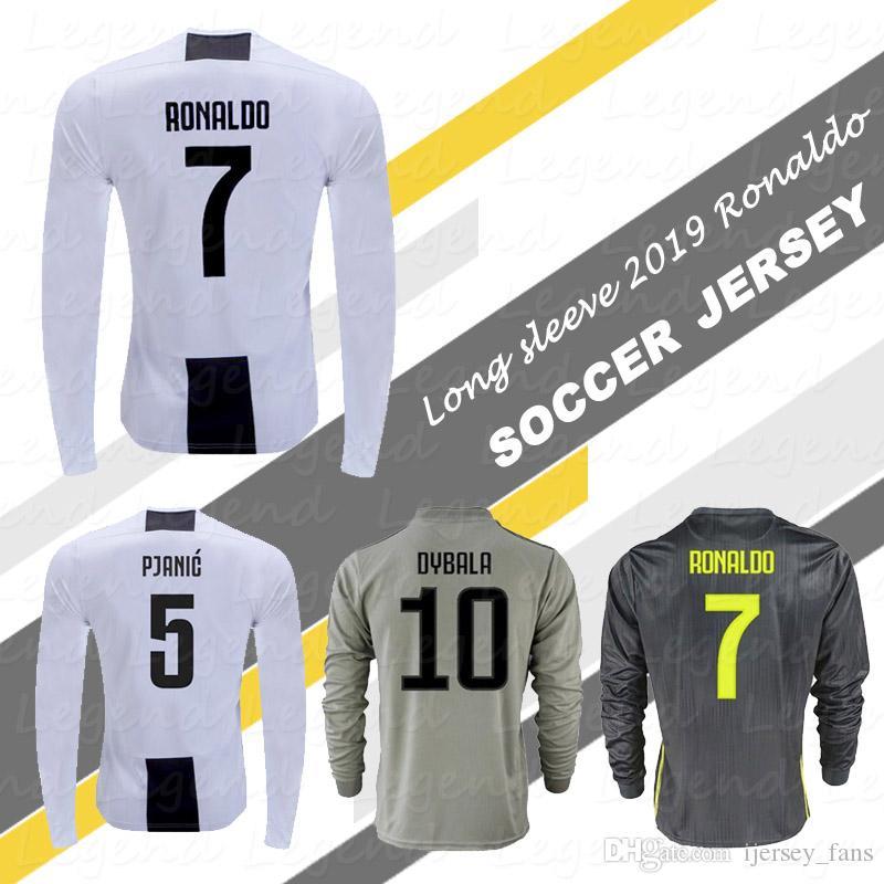 size 40 98b19 6eacc Ronaldo long sleeve Soccer Shirt 2019 DYBALA CHIELLINI BONUCCI MANDZUKIC  PJANIC Full Sleeve football jersey uniforms