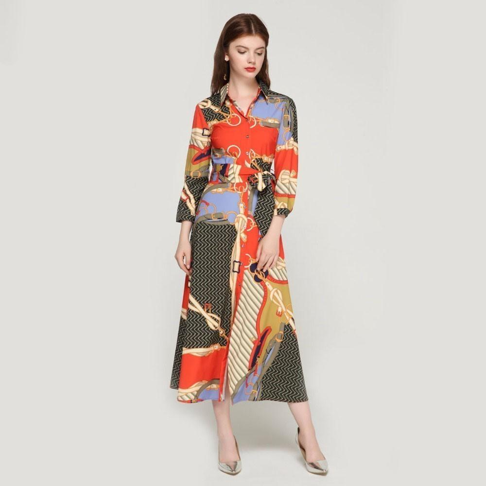 Elegant Women Patchwork Print Maxi Dress Bow Tie Sashes Long Sleeve Pleated Female Office Wear Long Dresses designer clothes