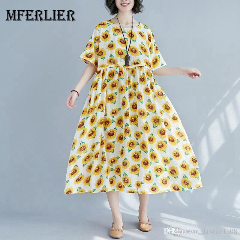 5377866640a9 Mferlier Women Summer Short Sleeve Floral Dress O Neck High Waist Pleated  Sunflower Print Cotton Linen Vintage Dress Sundresses Shift Dress From  Daodao1108, ...