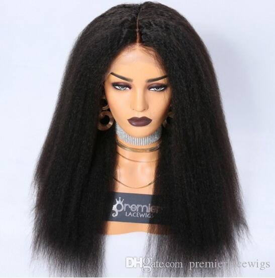Full Lace Human Hair Wigs Brazilian Human Hairs Kinky Straight 360 Frontal Wig Wigs Preplucked Bleached Knots Natural Hairline With Babyhair