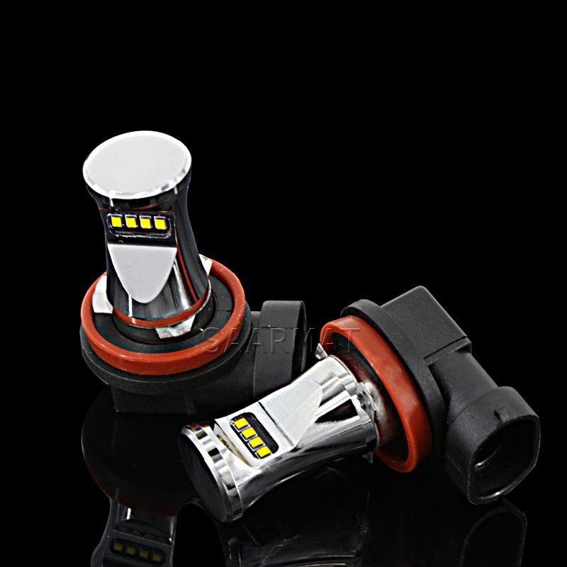 Car Light Assembly 2x 8 H9 H11 hite 1800LM LED Fog Light DRL Daytime  Running Lamp+Canbus Decoder For Mercedes W211 W212 W164