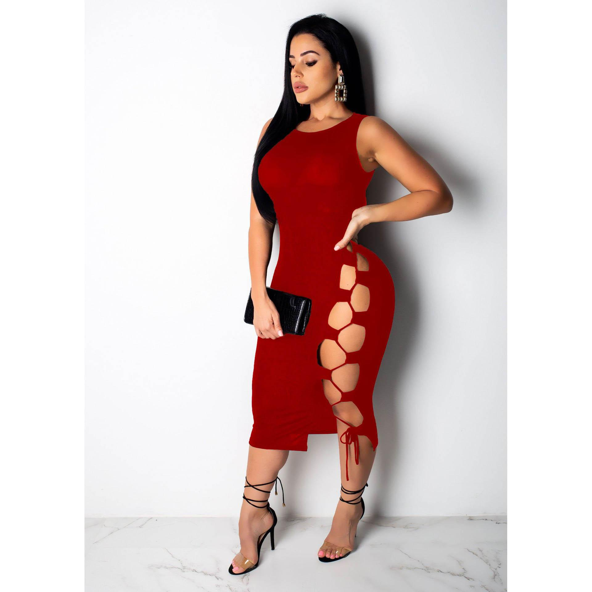 Women Summer Dresses Womens New Brand Sexy Boycon Dress Women Fashion Sleeveless Hollow Out Dress Ladies Sexy Club Style Dresses