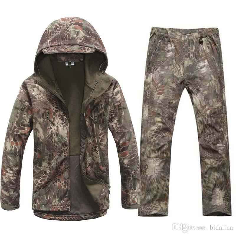 36caf195428 Tactical Softshell Outdoors Jacket Set Camouflage Hunting Waterproof ...