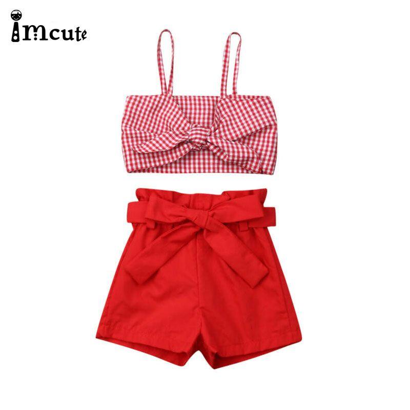 ImCute Новая Летняя одежда для малышей Baby Girl Одежда Bowknot Plaid Sling Crop Топы Шорты Наряды Set 1-6T