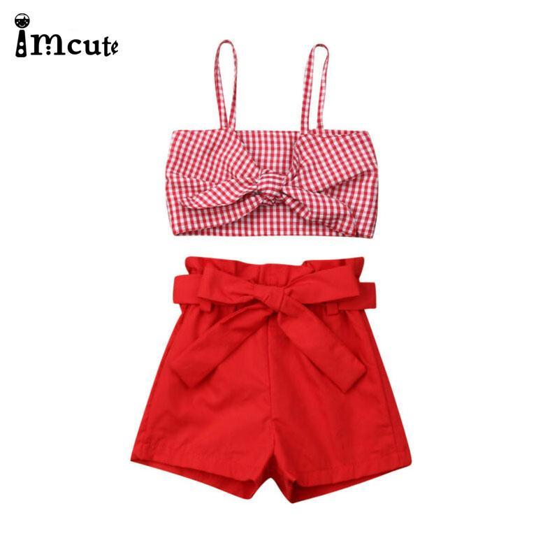 İmcute Yeni Yaz Giyim Bebek Kız Bebek Giyim ilmek Ekose Sling Mahsul Şort Kıyafetler Seti 1-6T Tops