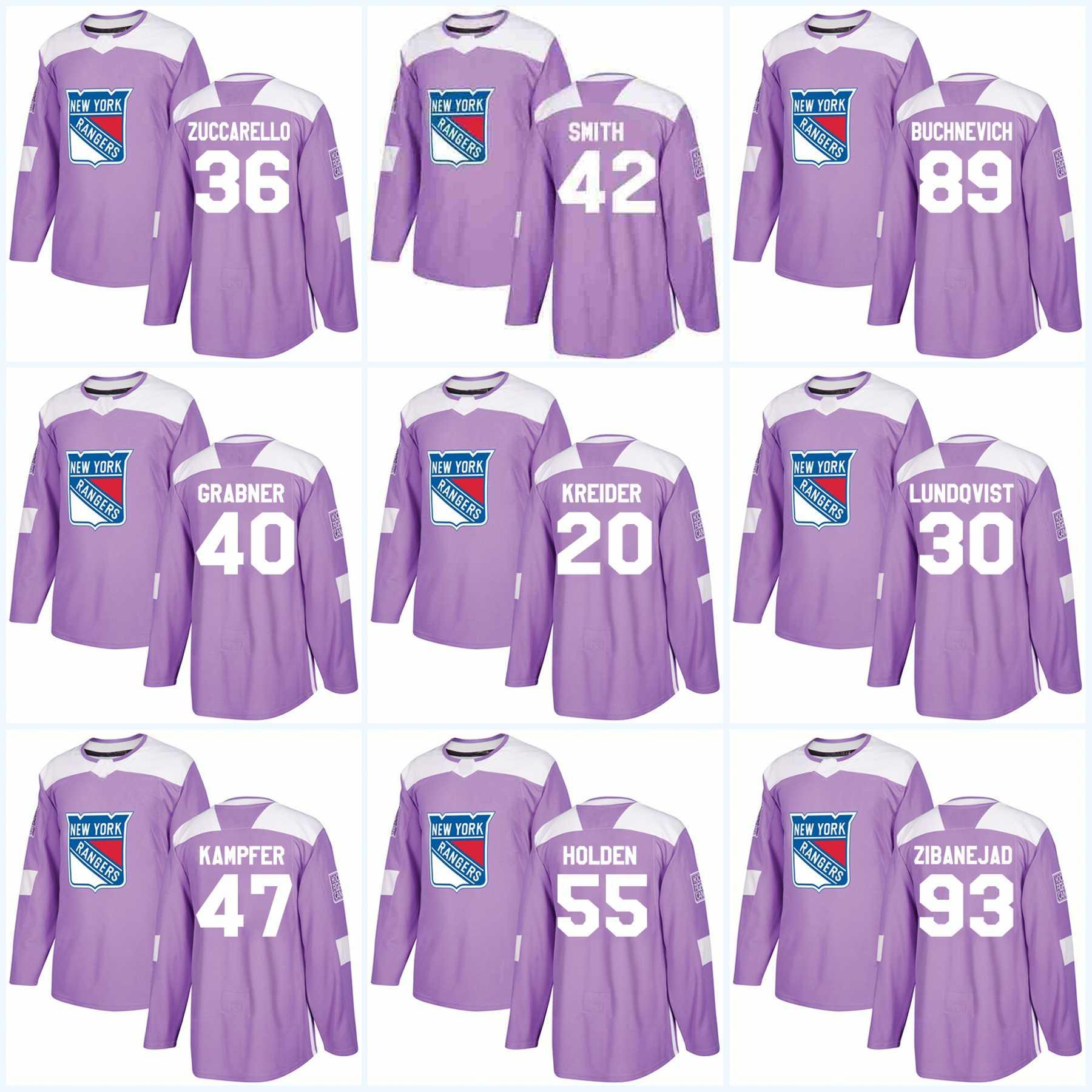 Woman Chris Kreider New York Rangers Jersey Purple Fights Cancer Practice 36 Mats Zuccarello 42 Brendan Smith 76 Brady Skjei Hockey Jerseys