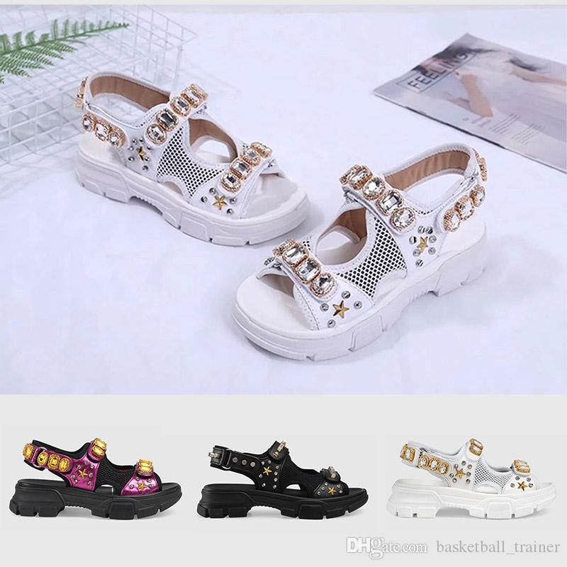 fa0cb8ae092 Leather And Mesh Sandal With Crystals 2019 Womens Luxury Designer Sandals  Triple Black White Lady Summer Outdoor Flat Slipper Fashion Slide Discount  Shoes ...