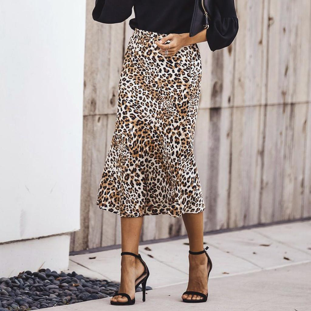 35c468d6b239d5 Women Sexy High Waist Leopard Print Skirts Fashion Girls Uniform Pleated  Skirt All-match Female's Long Type Retro Skirts
