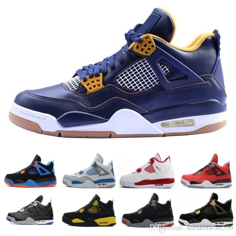nike air jordan aj4 retro Alta calidad 4 Nuevo Cemento Blanco Cemento Dinero puro Zapatos de baloncesto Hombres Mujeres 4s KAWS Tattoo Royalty Toro