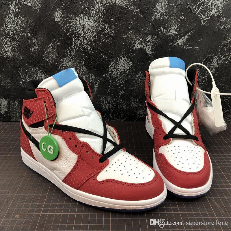 055020dd0631cf 2019 New Release 1 High OG Chicago Crystal Men Basketball Shoes Gym Red  Spider Blue Red White Top Quality 1S Man Sports Sneakers 555088 602 Box From  ...