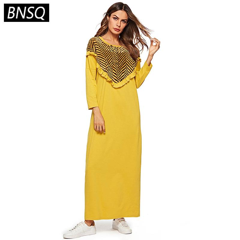 BNSQ Spring 2019 Women Maxi Dress Loose Plus Size Straight Long ...
