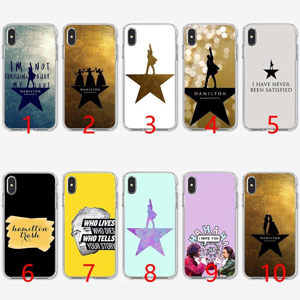 pretty nice 3fa0f a3c76 Hamilton Musical Lyrics Soft Silicone TPU Phone Case for iPhone 5 5S SE 6  6S 7 8 Plus X XR XS Max Cover