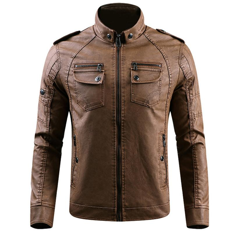 Pu Leather Jacket Men Leather Standing Collar Jackets Coat Parka Mens Leather Jackets And Coats Jaqueta De Couro Dropshipping