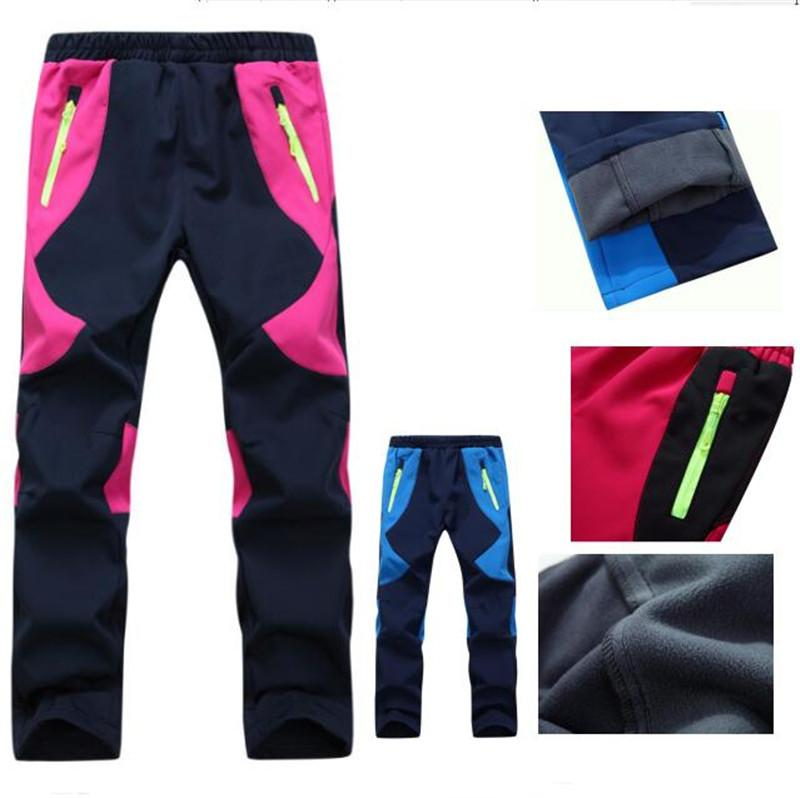 7ff304e9b55 Kids Fleece Ski Pants Camping Hiking Climbing Combat Trousers Boys ...