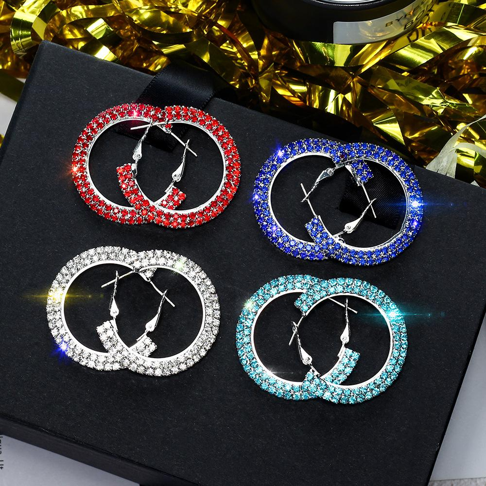 2019 FYUAN Popular Colorful Circle Crystal Hoop Earrings Boho Silver Black  Red Blue Rhinestone Earring For Women Party Jewelry Gift From Fenkbao 17d02744277f