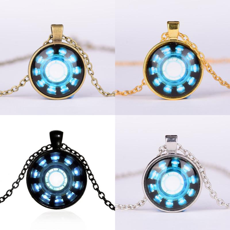 Cheap Necklaces Pendants Avengers 4 Endgame Iron Man Captain America Heart Arc Necklace Key Holder 25MM Gemstone Necklace Phone Chain A41006