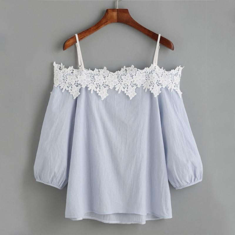 239393a5b67b9 2019 Fashion Women Ladies Summer Lace Off Shoulder Blouses 2018 Women Pink  Blue Long Sleeve Clothing Tops Casual Blouses Crop Tops From Fafachai07