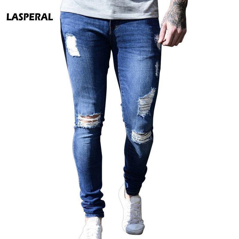 fdba6b564a Compre LASPERAL 2018 Primavera Verano Para Hombre Pantalones Vaqueros  Agujeros Rippped Lápiz Sólido Pantalones Mediados De Cintura Destroyed  Agujero Frayed ...