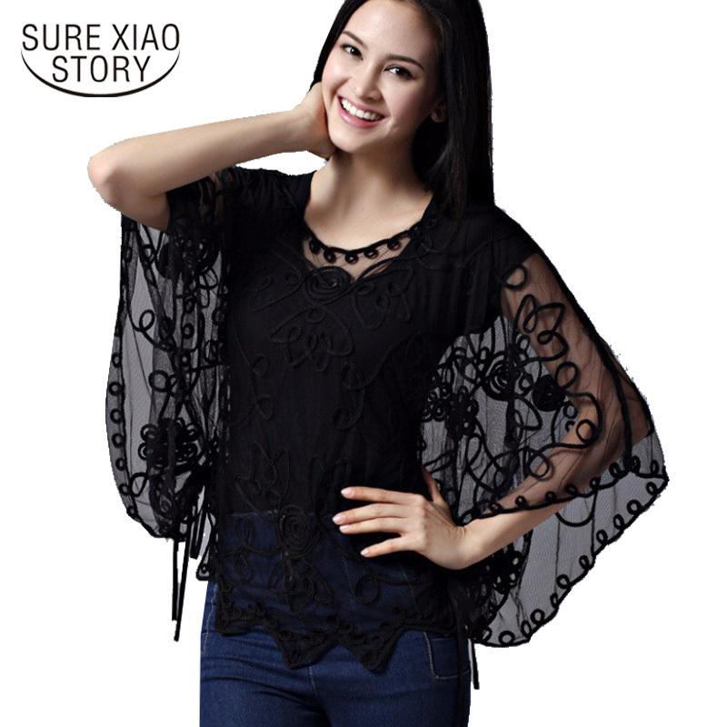 9e774fa61c3ca6 2015 High Quality Women's Summer Blusas Femininas Loose Hollow Blouse  Chiffon Lace Perspective Bat Shirt Women Cardigan 803j 38 Y19043001