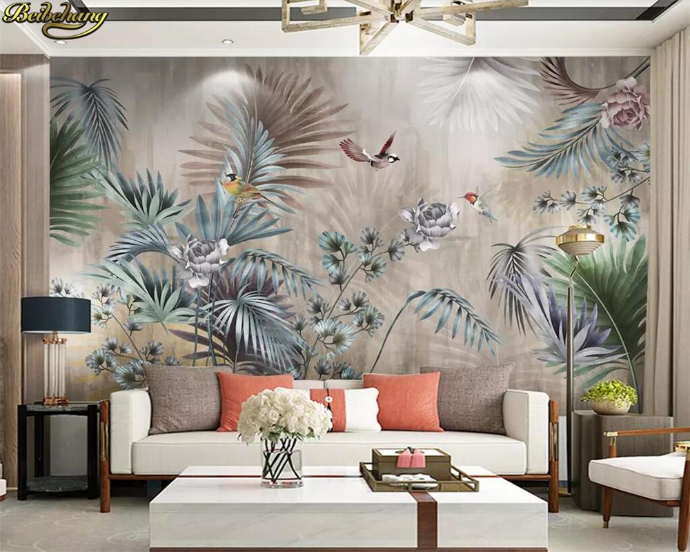 Custom 3d Wallpaper Nordic Plant Leaves Retro Tv Background Wall Painting Papel De Parede Wall Papers Home Decor