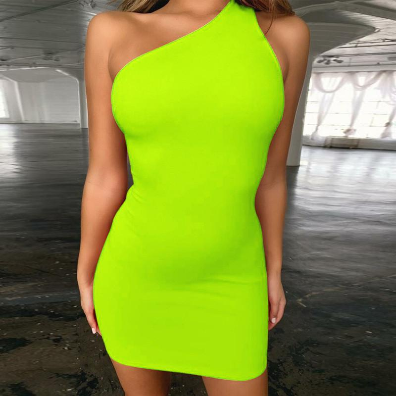 3648da7f320d8 Women Neon Green Dress One Shoulder Backless Solid Sexy Fluorescent Party  Dress Summer Fashion Mini Club Overalls GV279