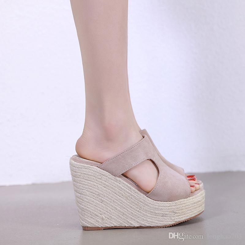6c18a09031 Women Summer Slippers Wedge Shoes Platform Flip Flops Stripper Heels High  Heels Slippers Womens Slides Beach Slippers YMA739 Buy Shoes Online Wedge  Boots ...