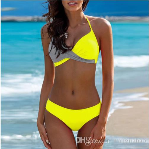 Reasonable Women Sexy Boho Zipper Solid Swimwear Push Up Bikini Suit Tie Bow Beachwear Siamese Low Waist Swimsuit Set Brazilian Bikinis Home