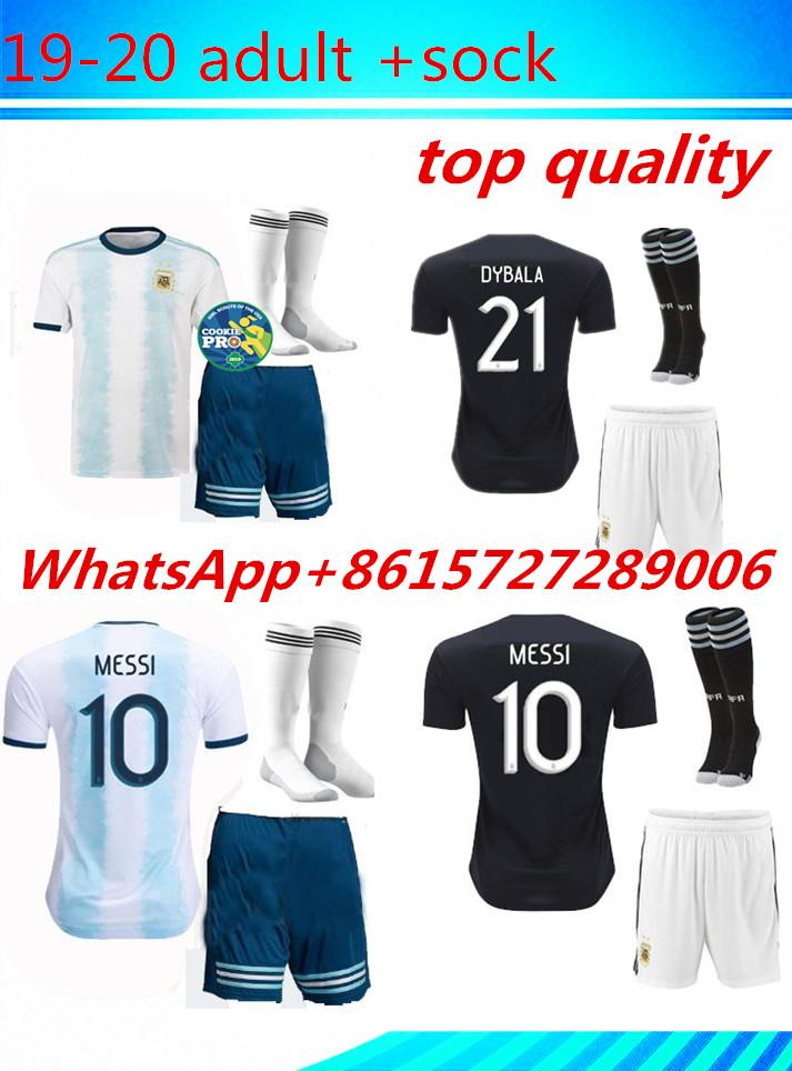 85e294fcee9 2019 New Argentina Men Kit Soccer Jersey 2019 2020 Home Away Blue White  HIGUAIN DI MARIA 21 DYBALA ICARDI 19 20 Adult Set Messi OTAMENDI From  Suarez520, ...