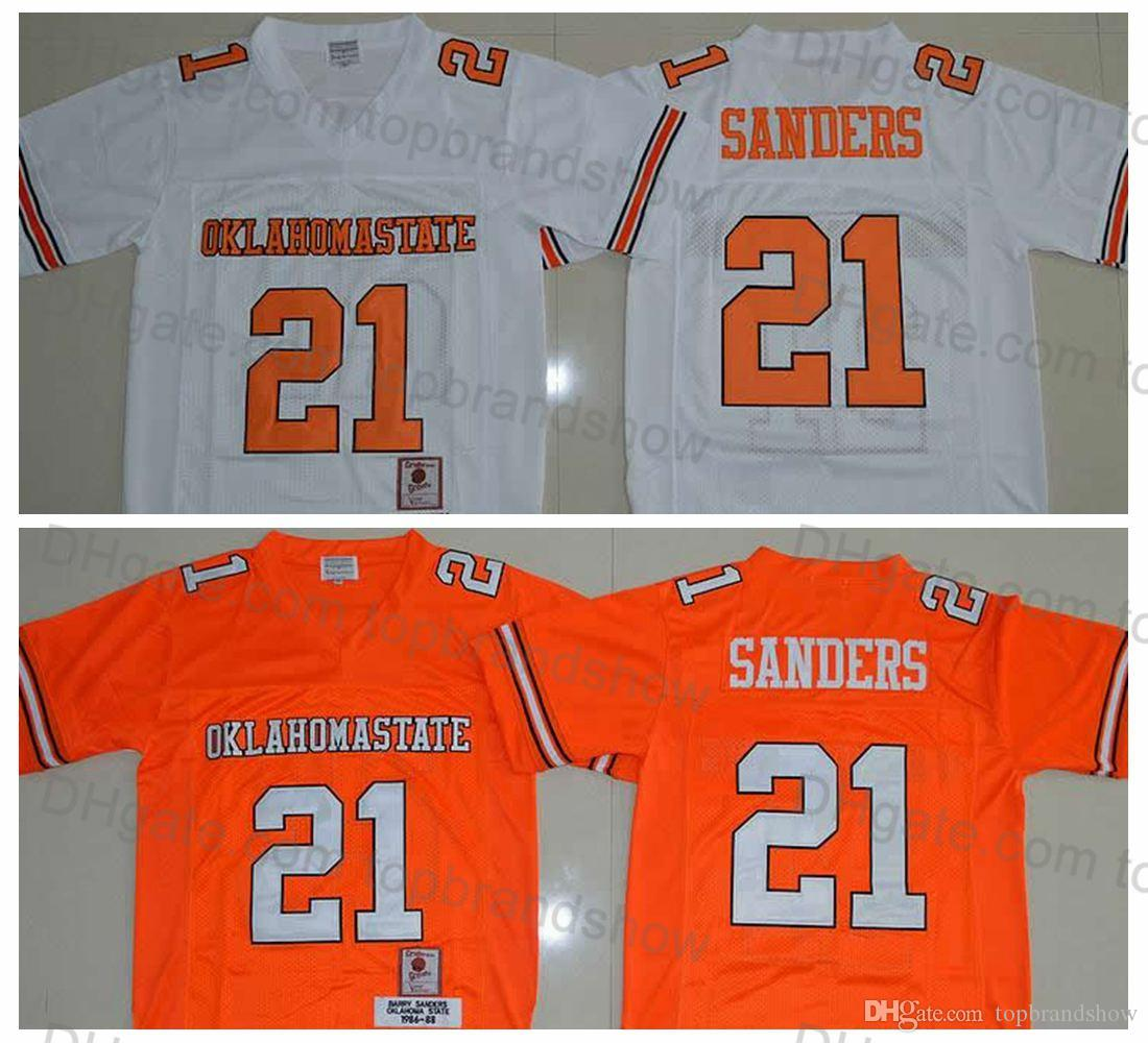 9c14a63a8 2019 1986 1988 Oklahoma State 21 Barry Sanders Jersey Retro Orange Stitched  Men Barry Sanders College Football Jerseys University Football Shirts From  ...