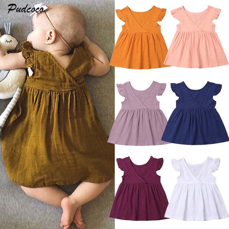 3cc728c74e5 2019 Brand Summer Kids Baby Girls Dress Sleeveless Solid Color ...