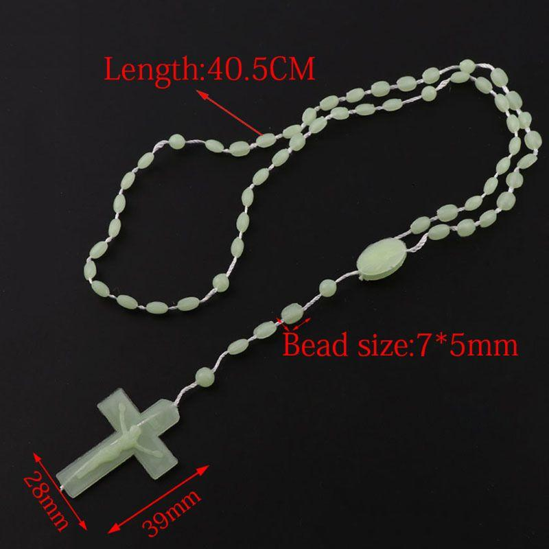 Plastic Rosary Beads Luminous Necklace Catholicism Prayer Religious Jewelry