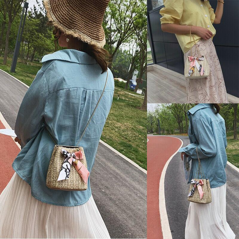 New Women Straw Bag Handwoven Bucket Rattan Purse Shoulder Handbag Tote Messenger Hobo Satchel Bag Cross Body