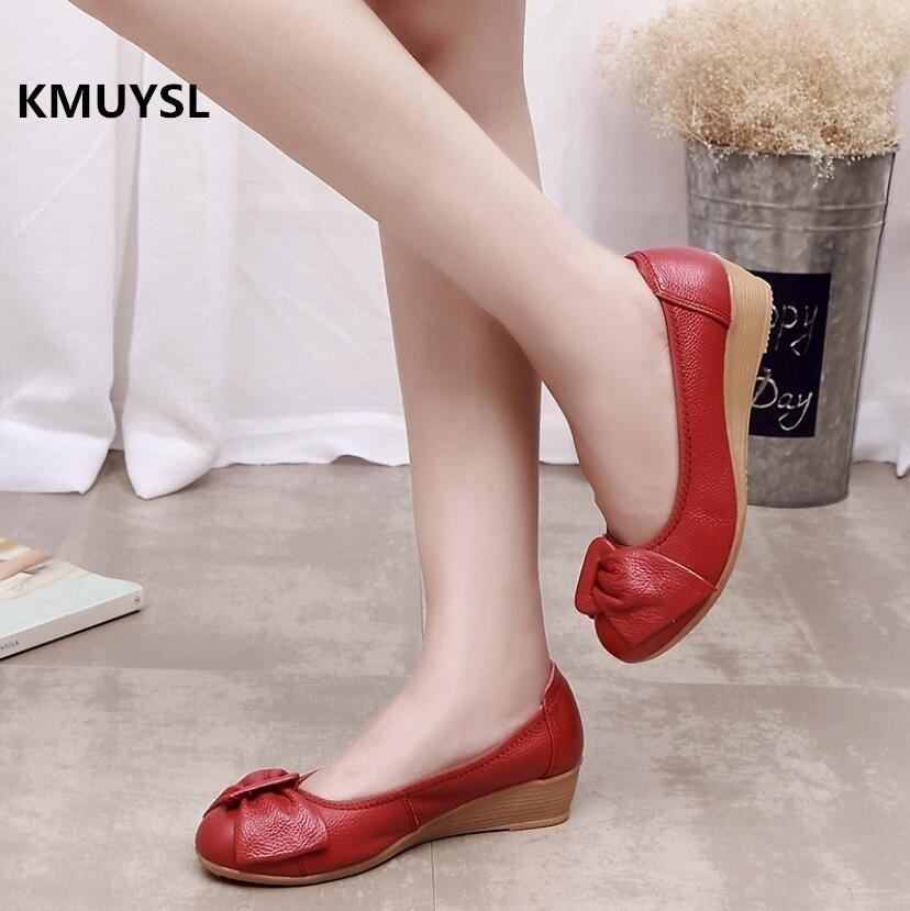 7ad15b8ee9e 2019 New Spring  Autumn Fashion Wedges Shoes Genuine Leather Women Low  Heeled White Casual Shoes Woman Nurse Shoes Boots For Men Wedge Shoes From  Deals8