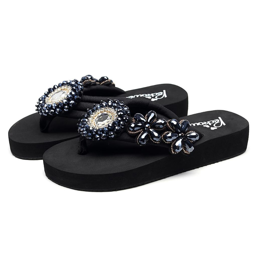 d5852eeb1 Roman Style Lady YOUYEDIAN Slippers Girls Solid Wedges Crystal Flip ...